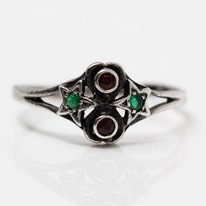 VINTAGE Sterling Garnet & Emerald Stars Ring 8